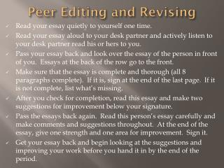 Peer Editing and Revising