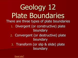 Geology 12 Plate Boundaries