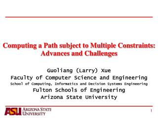 Computing a Path subject to Multiple Constraints: Advances and Challenges