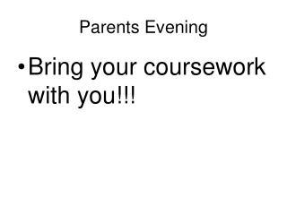 Parents Evening