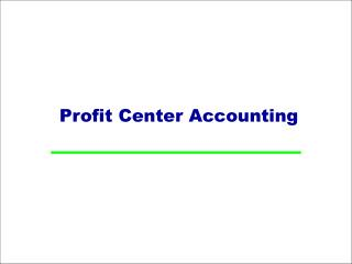 Profit Center Accounting