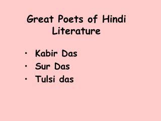 Great Poets of Hindi Literature