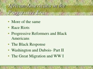 African-Americans in the Progressive Era