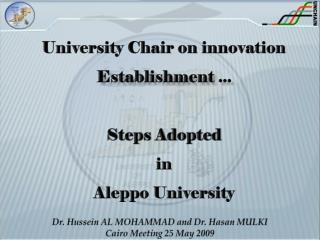 University  Chair on innovation E stablishment ... S teps  a dopted in Aleppo University
