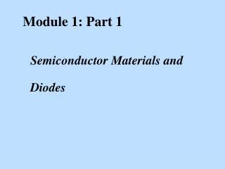 Module 1: Part 1