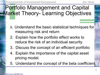 Portfolio Management and Capital Market Theory- Learning Objectives