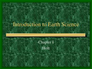 Introduction to Earth Science