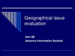 Geographical issue evaluation