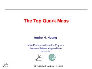 The Top Quark Mass