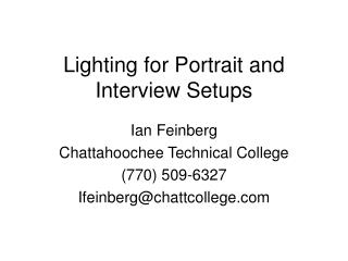 Lighting for Portrait and Interview Setups