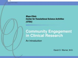 Community Engagement in Clinical Research
