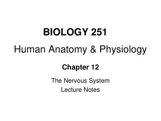 BIOLOGY 251 Human Anatomy & Physiology