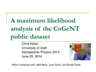 A maximum likelihood analysis of the CoGeNT public dataset