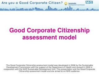 Good Corporate Citizenship  assessment model