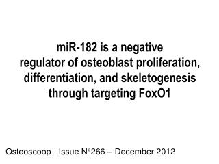 Osteoscoop - Issue N°266 – December 2012