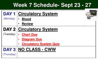 Week 7  Schedule-  Sept 23 - 27
