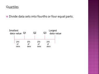 Q uartiles Divide data sets into fourths or four equal parts.