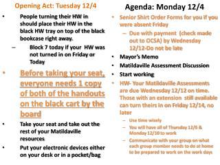 Agenda: Monday 12/4