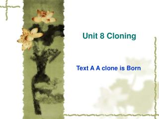 Unit 8 Cloning