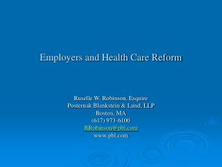 Employers and Health Care Reform
