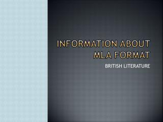 Information about  mla  format