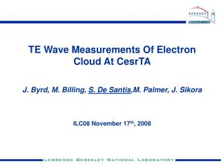 TE Wave Measurements Of Electron Cloud At CesrTA