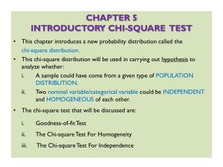 CHAPTER 5 INTRODUCTORY CHI-SQUARE  TEST