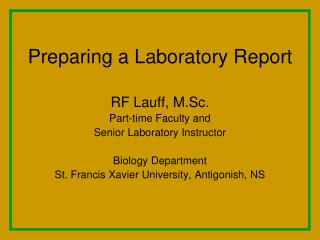 Preparing a Laboratory Report