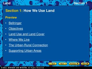 Section 1:  How We Use Land
