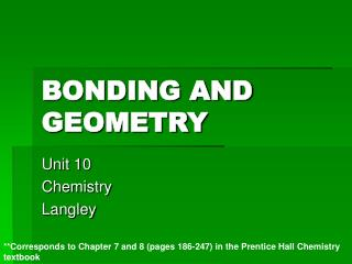 BONDING AND GEOMETRY