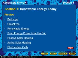 Section 1:  Renewable Energy Today