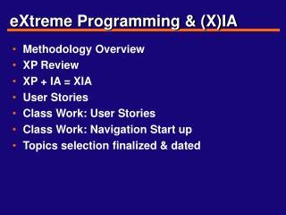 eXtreme Programming & (X)IA