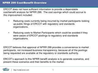 NPRR 299 Cost/Benefit Overview