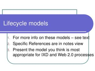 Lifecycle models