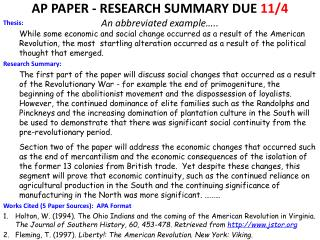 AP PAPER - RESEARCH SUMMARY DUE  11/4 An abbreviated example…..