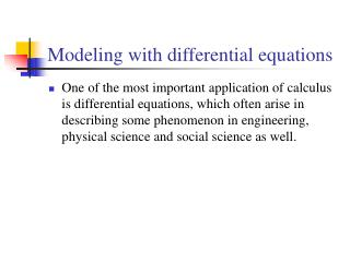 Modeling with differential equations