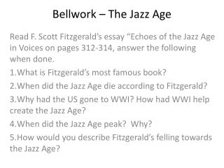 Bellwork – The Jazz Age
