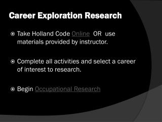 Career Exploration Research