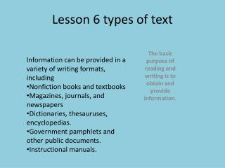 Lesson 6 types of text