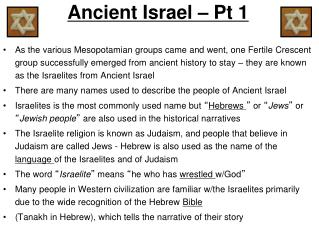 Ancient Israel – Pt 1