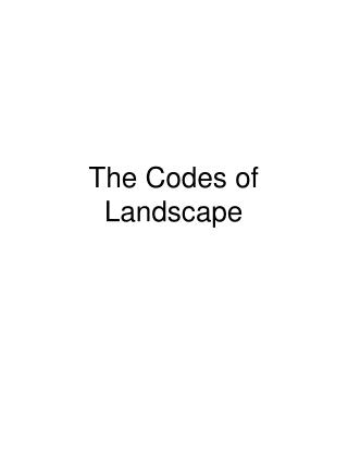 The Codes of Landscape
