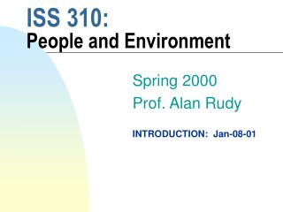 ISS 310:  People and Environment