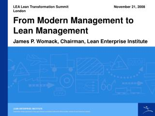 From Modern Management to Lean Management