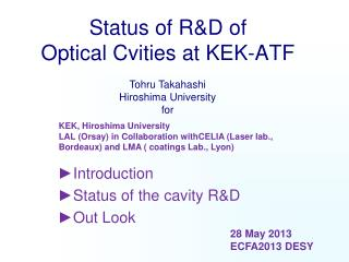 Status of R&D of  Optical Cvities at KEK-ATF