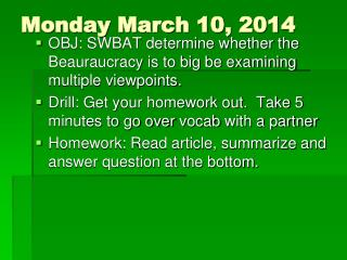 Monday March 10, 2014