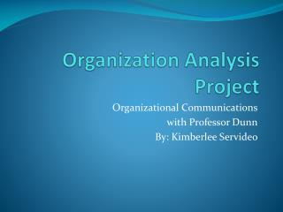 Organization Analysis Project