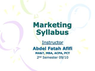 Marketing Syllabus