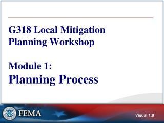 G318 Local Mitigation Planning Workshop Module 1:  Planning Process