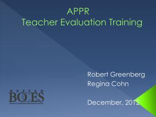 APPR Teacher Evaluation Training
