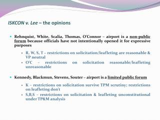 ISKCON v. Lee  – the opinions